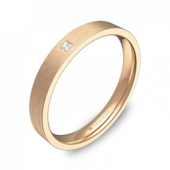 Alianza de boda 3,0mm en oro rosa satinado con diamante B0130S1PR