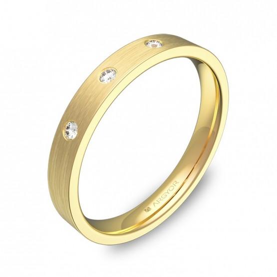 Alianza de boda en oro amarillo plana gruesa con diamantes B0130S3BA