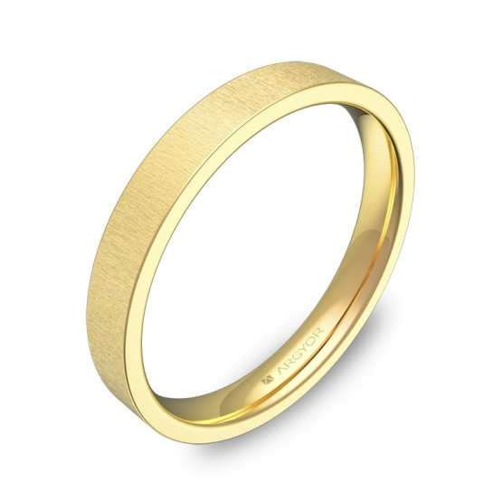 Alianza de boda plana gruesa 3,0mm en oro amarillo rayado B0130T00A