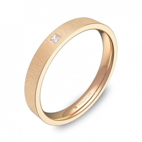Alianza de boda en oro rosa rayado con diamante B0130T1PR