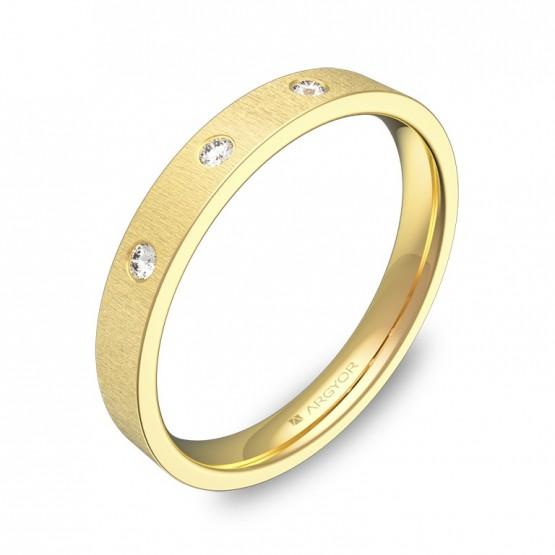 Alianza de boda de oro plana gruesa con diamantes B0130T3BA