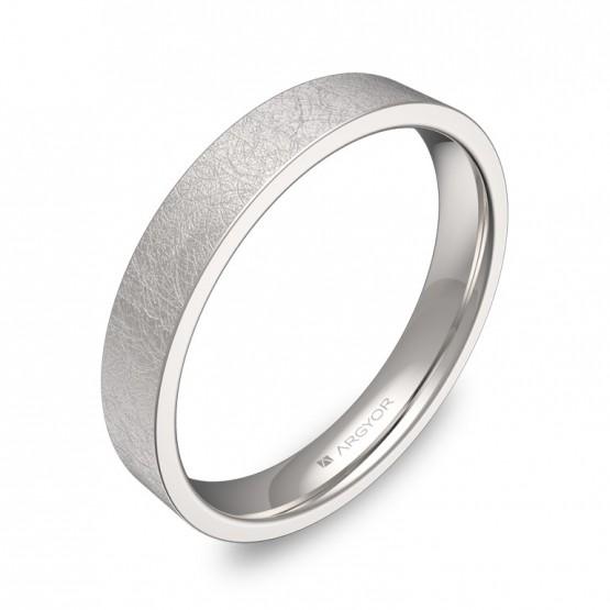 Alianza de boda 3,5mm en oro blanco acabado hielo B0135H00B