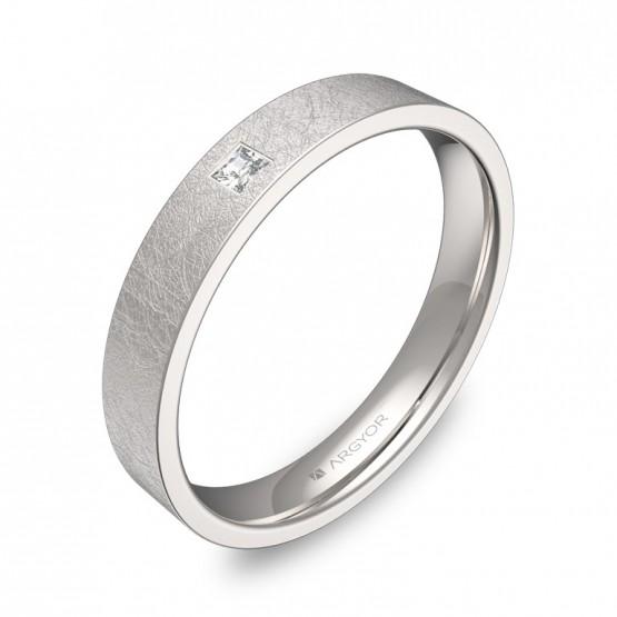 Alianza de boda oro blanco plana gruesa con diamante B0135H1PB