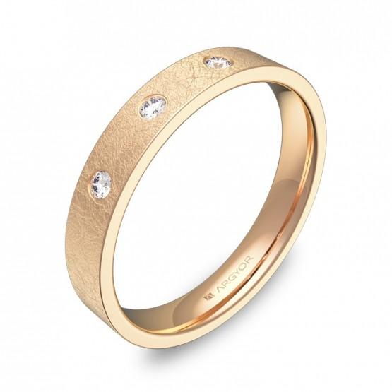 Alianza de boda 3,5mm oro rosa hielo con diamantes B0135H3BR