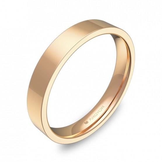 Alianza de boda plana gruesa 3,5mm en oro rosa pulido B0135P00R