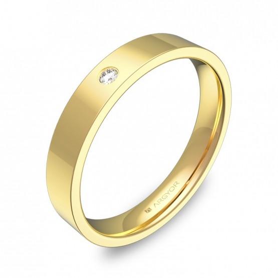 Alianza de boda plana gruesa en oro pulido 1 diamante B0135P1BA