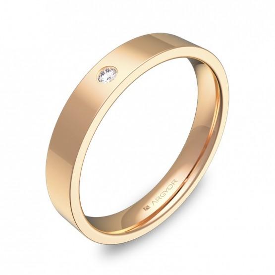 Alianza de boda de oro rosa pulido con diamante B0135P1BR