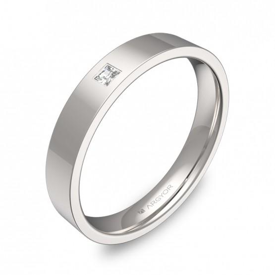 Alianza de boda en oro blanco pulido con diamante B0135P1PB