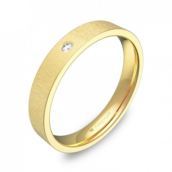 Alianza de boda plana gruesa en oro amarillo con diamante B0135T1BA