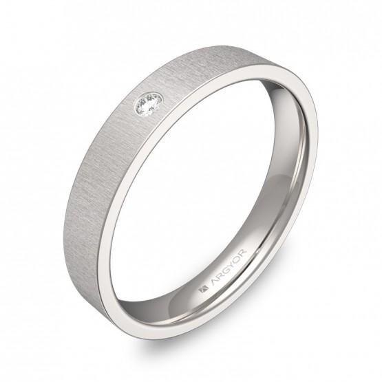 Alianza de boda 3,5mm en oro blanco rayado con diamante B0135T1BB