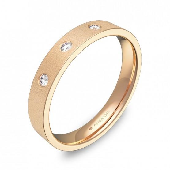 Alianza de boda 3,5mm en oro rosa rayado con diamantes B0135T3BR