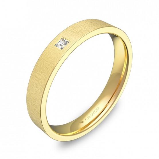 Alianza de boda oro 18k plana gruesa con diamante B0135T1PA