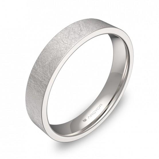 Alianza de boda plana gruesa 4,0mm en oro blanco hielo B0140H00B