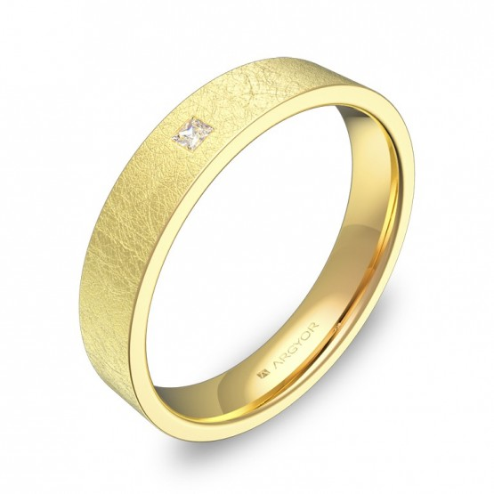Alianza de boda de oro amarillo hielo con diamante B0140H1PA