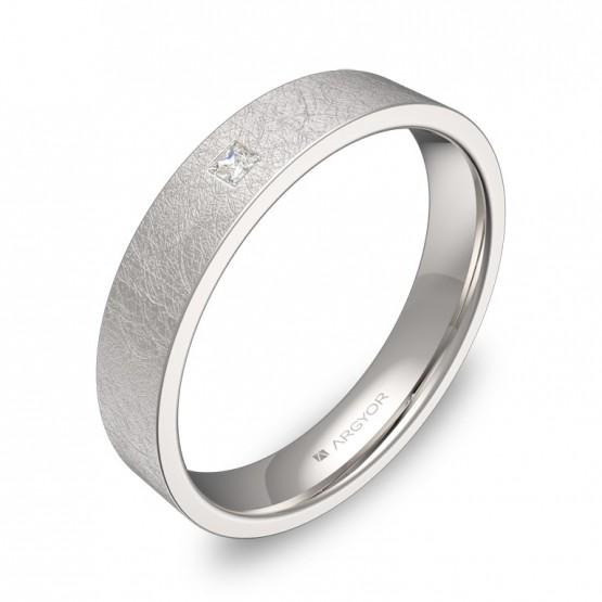 Alianza de boda plana gruesa oro blanco hielo con diamante B0140H1PB