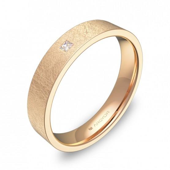 Alianza de boda 4,0mm oro rosa efecto hielo con diamante B0140H1PR
