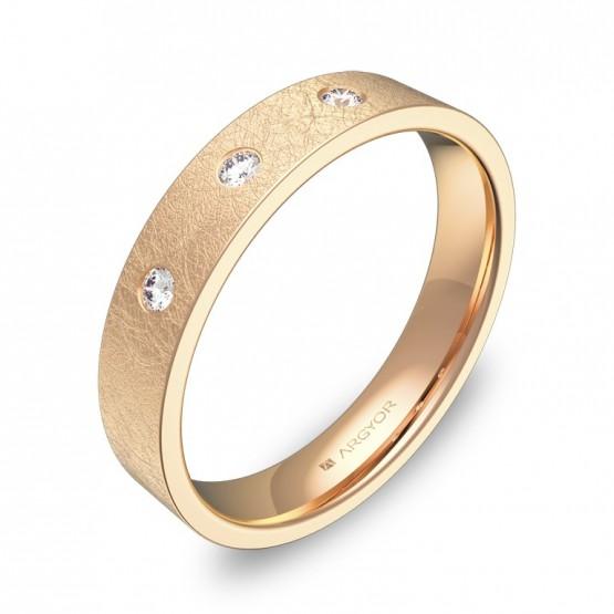 Alianza de boda 4,0mm oro rosa hielo con diamantes B0140H3BR