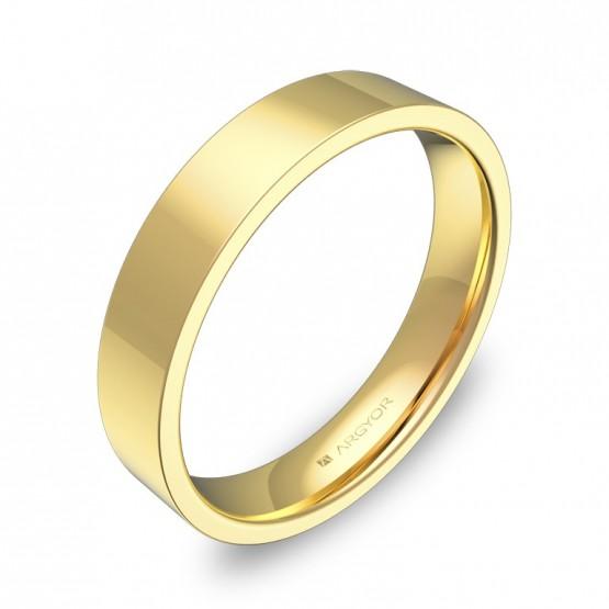Alianza de boda plana gruesa 4,0mm en oro amarillo pulido B0140P00A