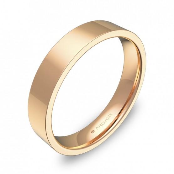 Alianza de boda plana gruesa 4,0mm en oro rosa pulido B0140P00R