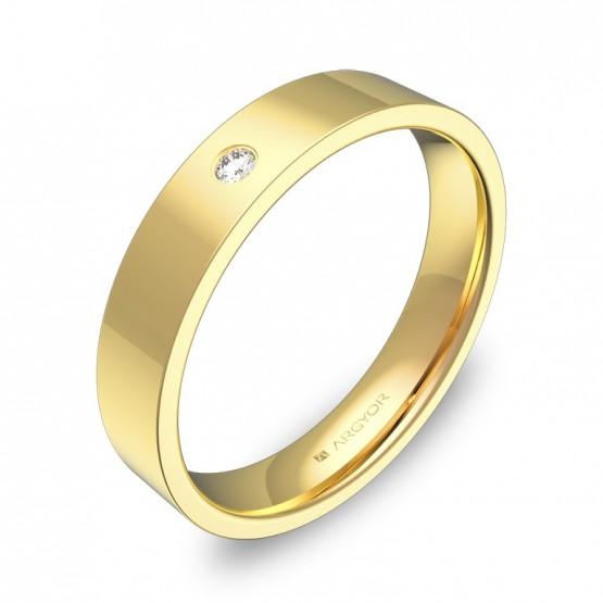 Alianza de boda plana gruesa en oro amarillo con diamante B0140P1BA