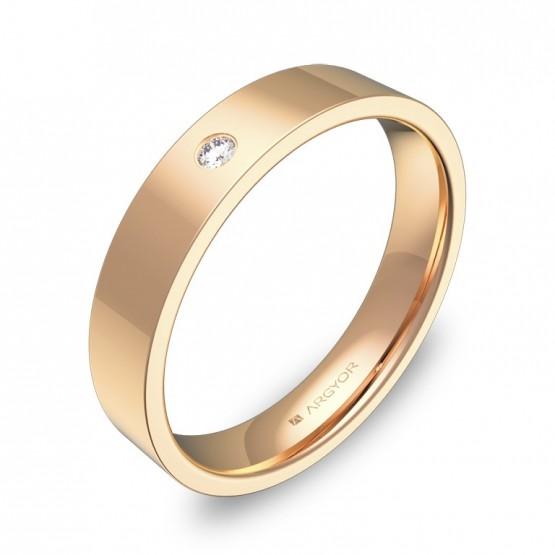 Alianza de boda 4,0mm en oro rosa pulido con diamante B0140P1BR