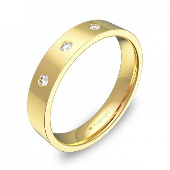 Alianza de boda oro amarillo pulido con diamantes B0140P3BA