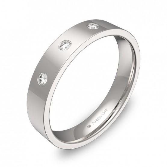 Alianza de boda 4,0mm en oro blanco pulido con diamantes B0140P3BB