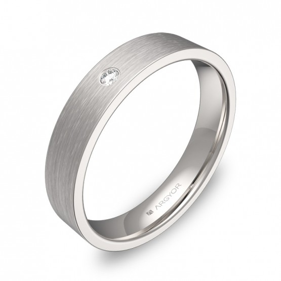 Alianza de boda 4,0mm oro blanco satinado con diamante B0140S1BB