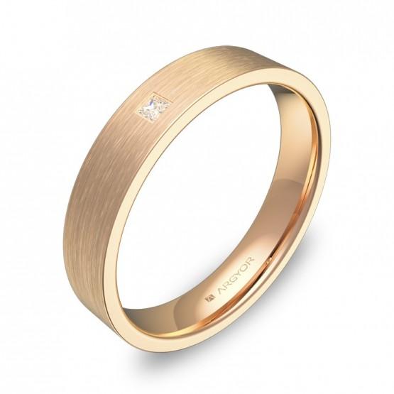 Alianza de boda 4,0mm en oro rosa satinado con diamante B0140S1PR