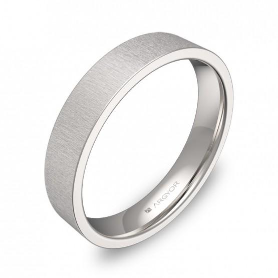 Alianza de boda plana gruesa 4,0mm en oro blanco rayado B0140T00B