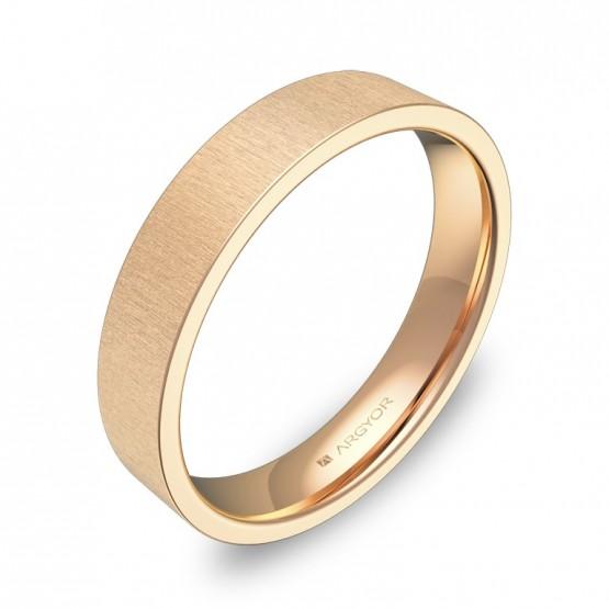 Alianza de boda plana gruesa 4,0mm en oro rosa rayado B0140T00R
