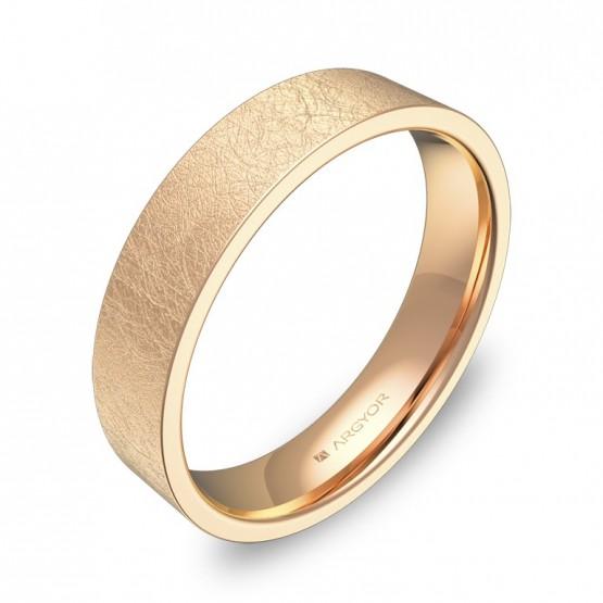 Alianza de boda plana gruesa 4,5mm en oro rosa hielo B0145H00R