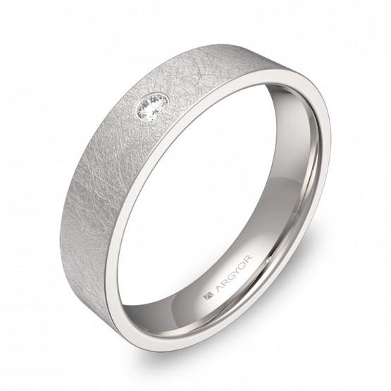 Alianza de boda plana gruesa en oro blanco con diamante B0145H1BB