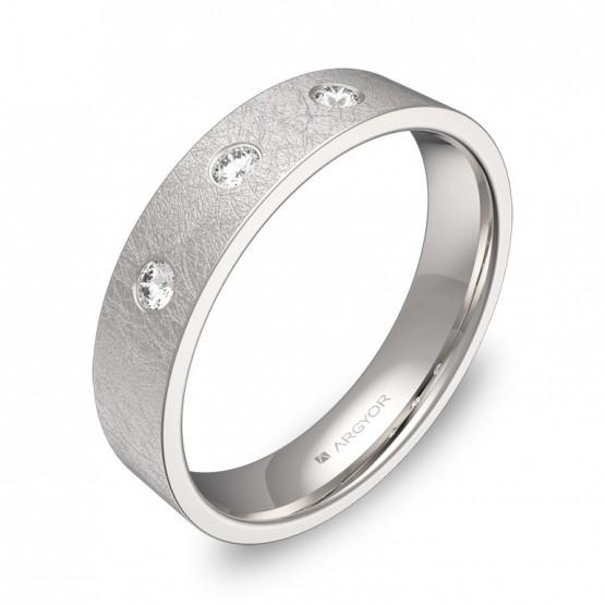 Alianza de boda en oro blanco plana gruesa con diamantes B0145H3BB