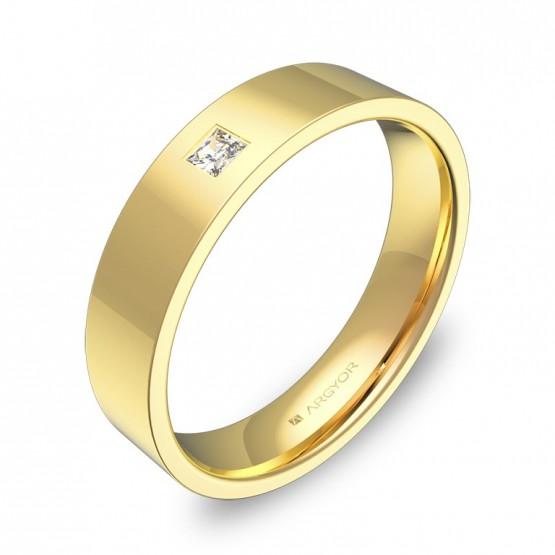 Alianza de boda  4,5mm oro amarillo pulido con diamante B0145P1PA