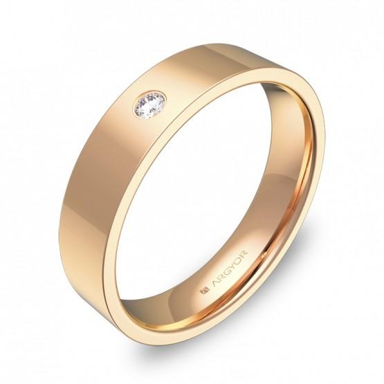 Alianza de boda 4,5mm oro rosa pulido con diamante B0145P1BR