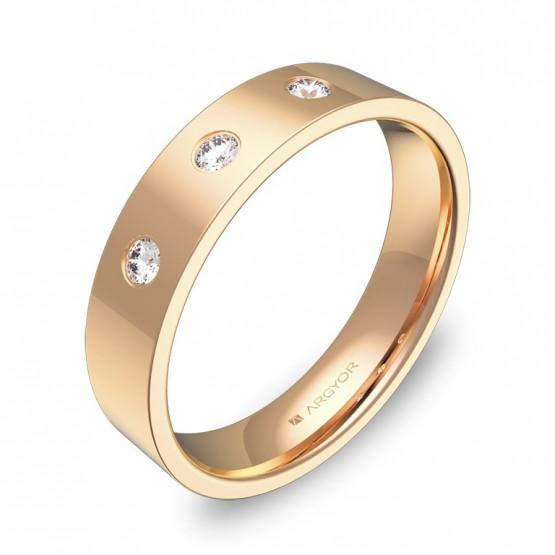 Alianza de boda en oro rosa pulido con diamantes B0145P3BR