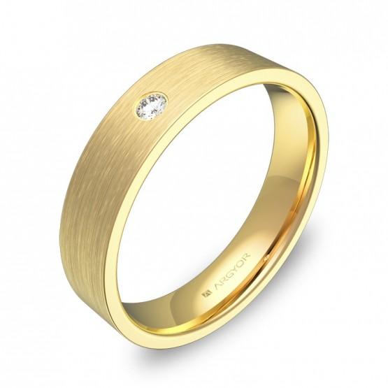 Alianza de boda en oro amarillo plana gruesa con diamante B0145S1BA