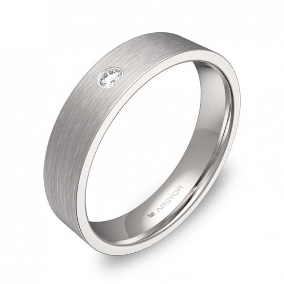 Alianza de boda 4,5mm en oro blanco con diamante B0145S1BB