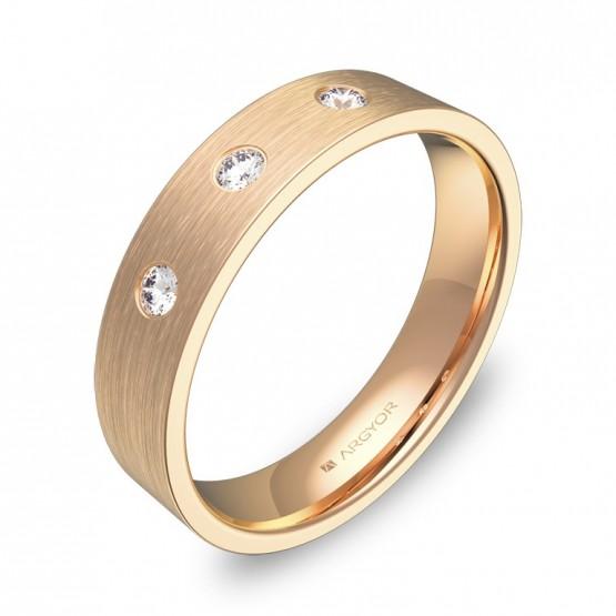 Alianza de boda oro rosa satinado con 3 diamantes B0145S3BR