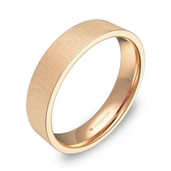 Alianza de boda plana gruesa 4,5mm en oro rosa rayado B0145T00R
