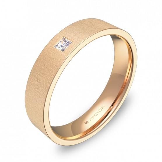 Alianza de boda oro rosa plana gruesa con diamante B0145T1PR
