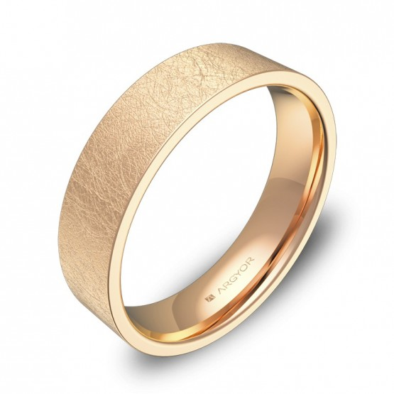Alianza de boda plana gruesa 5,0mm en oro rosa hielo B0150H00R