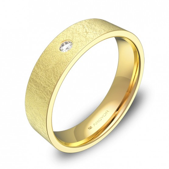 Alianza de boda 5,0mm en oro amarillo hielo con diamante B0150H1BA