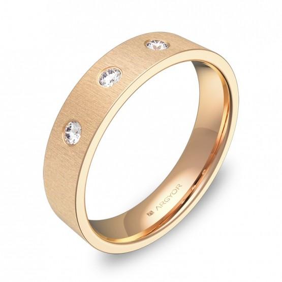 Alianza de boda 4,5mm de oro rosa rayado con diamantes B0145T3BR