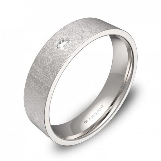 Alianza de boda 5mm en oro blanco con diamante B0150H1BB