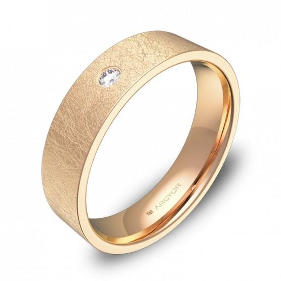 Alianza de boda 5,0mm en oro rosa hielo con diamante B0150H1BR