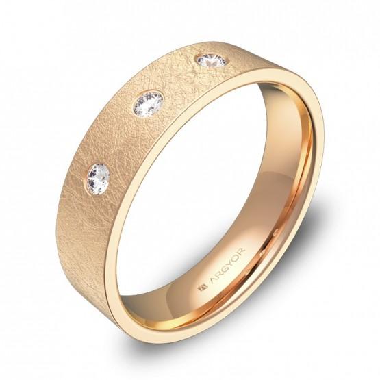 Alianza de boda 5,0mm oro rosa hielo con diamantes B0150H3BR