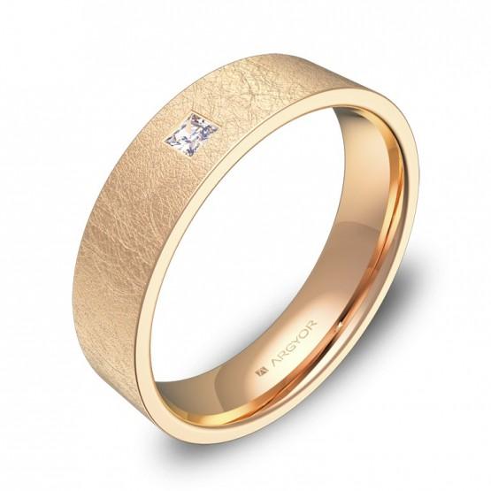 Alianza de boda oro rosa hielo con diamante B0150H1PR