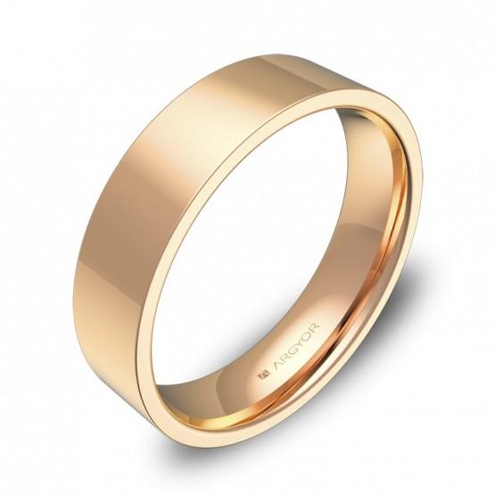 Alianza de boda plana gruesa 5,0mm en oro rosa pulido B0150P00R